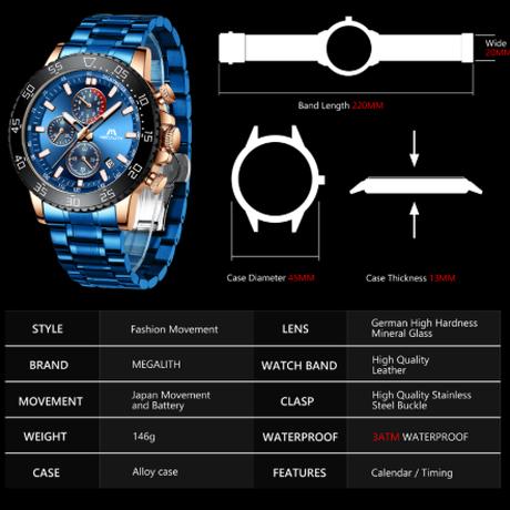 【MEGALITH】 海外高級ブランド クロノグラフ 防水 メンズ腕時計 クォーツ 日付表示 ルミナスハンズ スタイリッシュ 【選べる3色】
