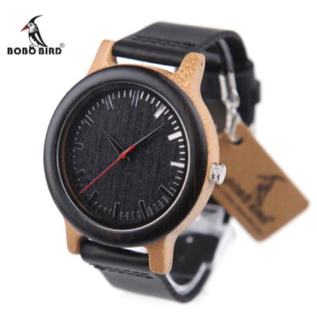 本革ベルト 黒 クォーツ 木製腕時計 海外高級ブランド BOBO BIRD メンズ レザーバンド ブラック