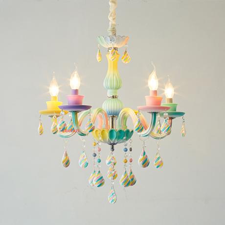 シャンデリア 子供部屋 キャンディーカラー カラフル かわいい クリスタル LED 5ライト