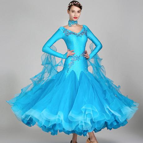 社交ダンスドレス ワルツ ロングスカート スタンダード スパンコール フォックストロット ルンバ 踊り 衣装 レディース 長袖 エレガント 選べる4色