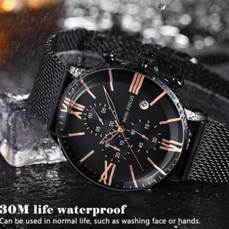 【MINIFOCUS】 クロノグラフ 腕時計 メンズ 防水 クォーツ メッシュベルト ステンレス 日付表示 海外トップブランド 選べる3色