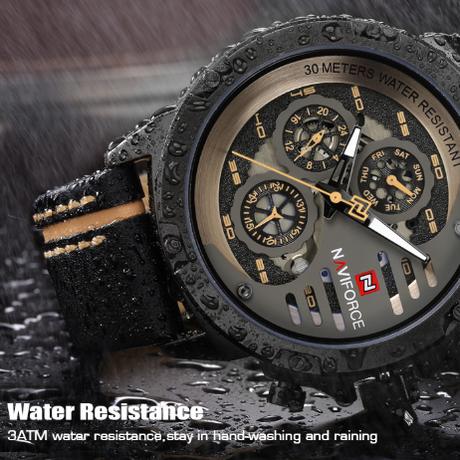 NAVIFORCE メンズ腕時計 スポーツ 海外高級 トップブランド クォーツ 革バンド 防水 3気圧 日付 曜日表示 暗所で針が発光