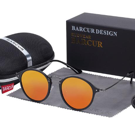 【ヴィンテージ】 BARCUR ラウンド サングラス ユニセックス 偏光 UV400 ポラロイド 丸型 軽量 海外トップブランド 男女兼用 BC8575 【選べる3色】