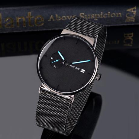 クール スタイリッシュ BOBO BIRD ビジネス スモールダイヤル 日付表示 金属ベルト ステンレス 腕時計 ユニセックス クォーツ ブラック 黒