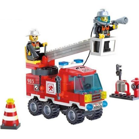 消防トラック ブロックキット 乗り物 おもちゃ 子供 知育玩具 130ピース