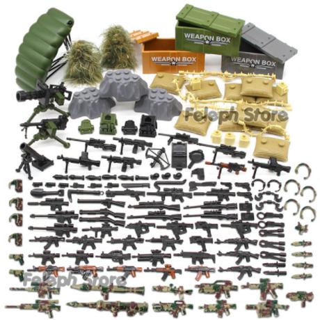 【レゴ互換】ミリタリーブロックセット 武器+土嚢+ギリースーツなど【SWATチーム】