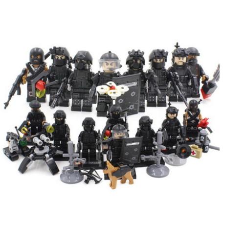 レゴ互換 ミリタリー スワット アメリカ警察 特殊部隊 SWAT 警察犬 兵士 武器 ミニフィグ ブロックセット 8体