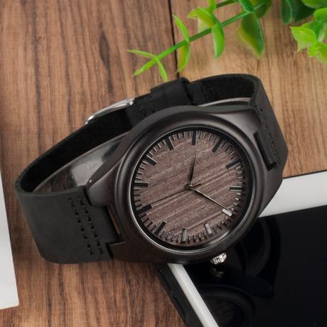 可愛い紙箱付き BOBO BIRD エボニーウッド 木製腕時計 本革ベルト ボボバード メンズ クォーツ 渋い  F08