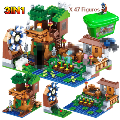 レゴ互換 ブロック レゴ風 3IN1 マイワールドシリーズ 高級ツリーハウス カラフルで楽しく知育できます★