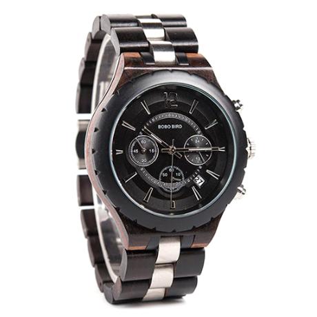 BOBO BIRD 防水 3気圧 クロノグラフ 日付表示 木製腕時計 ビジネス クォーツ 黒 白 2色から選択可能