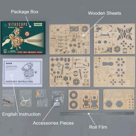 Robotime 映写機 組み立て キット 木製 フィルム付き 3Dパズル プロジェクター 歯車 ギア 自作 電池不要 工作 プレゼントにも★