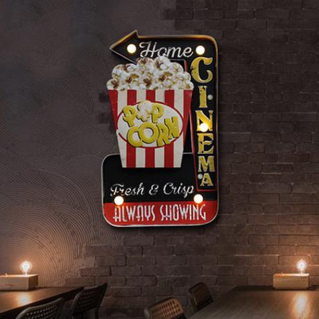 【ネオンサイン】 映画館 『CINEMA』+ポップコーン シネマ 【ネオンライト】
