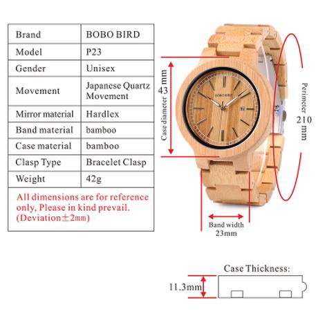BOBO BIRD バンブーウォッチ 竹製 腕時計ユニセックス クォーツ 日付表示 ボボバード P23