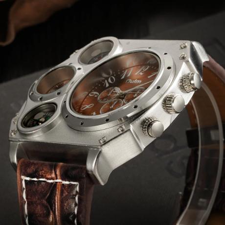 Oulm メンズ腕時計 ごつい 大きい 個性的 ダブルフェイス 方位 温度計 クォーツ ユニークなデザイン デュアルタイム おしゃれ メンズウォッチ 選べる3色