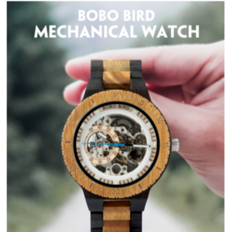 BOBO BIRD 木製腕時計 機械式 自動巻き 発光 ルミナスハンズ メンズ ツートンバンド スケルトン 海外高級ブランド 2色展開