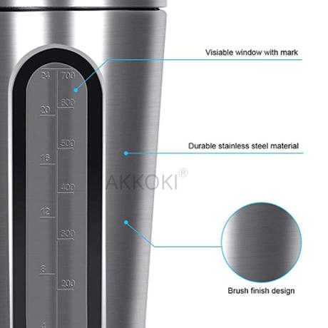 プロテインシェーカー ステンレス 700ml 大容量 使いやすい ミキサー 洗いやすい ブレンダーボトル スポーツウォーターボトル 選べる5色