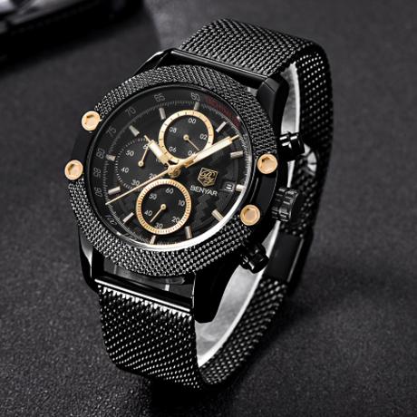 BENYAR メンズ腕時計 防水 クロノグラフ メッシュベルト 日付表示 クォーツ 海外高級ブランド 渋い おしゃれ 選べる2色