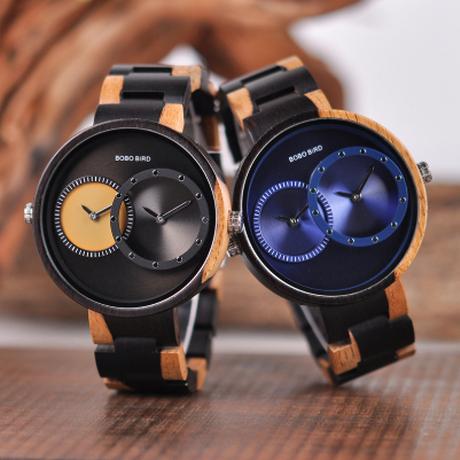 BOBO BIRD ダブルタイムゾーン 超薄型 軽量 木製腕時計 R10 ミヨタクォーツムーブメント ユニセックス レディース メンズ 海外高級ブランド