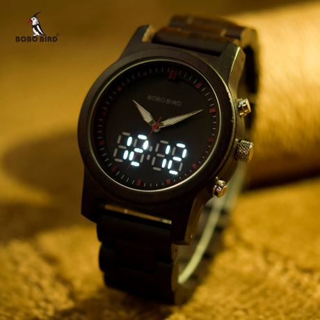 BOBO BIRD LED デジタル デュアルタイム 腕時計 クォーツ ユニセックス 忙しい時にも時間が確認しやすい
