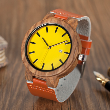 BOBO BIRD オレンジレザーストラップ 木製腕時計 ゼブラウッド 日付表示 メンズ ボボバード 本革ベルト クォーツ 手作り 海外高級ブランド ギフトボックス付き O09