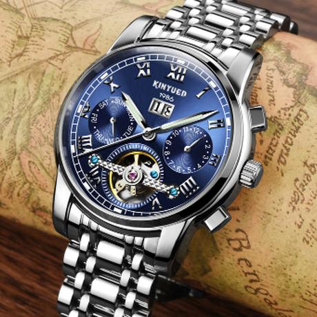 【2019】 KINYUED トゥールビヨン 自動巻き 機械式 防水 ラグジュアリー メンズ腕時計メンズ ステンレススチールバンド 日付 曜日表示 高級 【選べる3色】