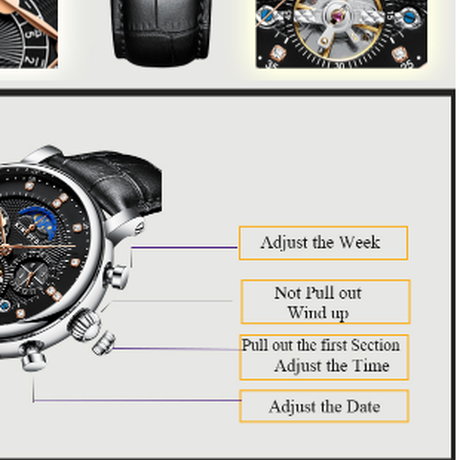 【KINYUED】 高級 腕時計 メンズ スケルトン トゥールビヨン ムーンフェイズ 自動巻き 機械式 防水 日付表示 レザーバンド 発光 【選べる3色】
