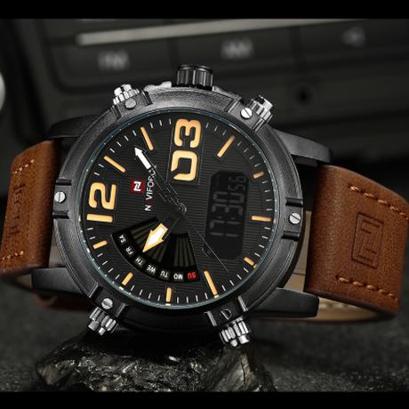 NAVIFORCE 海外高級ブランド ミリタリーウォッチ スポーツ メンズ腕時計 革ベルト レザー クォーツ 防水 3ATM ELバックライト 日付 曜日表示機能