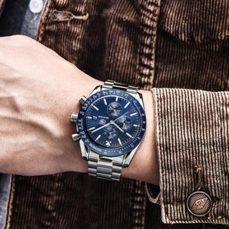 BENYAR メンズ腕時計 防水 クロノグラフ ビジネス ステンレスベルト 日付表示 クォーツ 海外高級ブランド シンプル 選べる2色