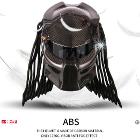 オートバイヘルメット フルフェイス カーボンファイバー プレデター アイアン戦士 ヘルメット DOT安全認証 サイズS~XXL 黒 高性能