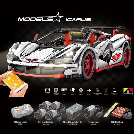 LEGO互換 レゴテクニック マクラーレン MP4-12 モーター&ライトキットセット ブロック ホワイト ラジコンのように楽しめます★