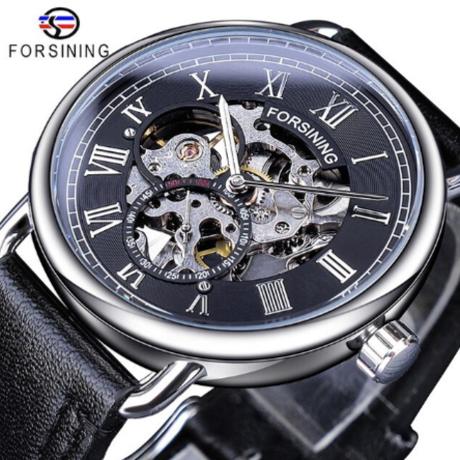 FORSINING 革ベルト スケルトン メンズ 腕時計 機械式 手巻き 防水 渋い本革バンド