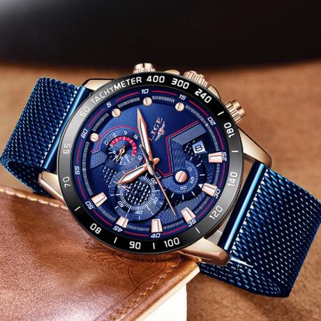 LIGE メンズ腕時計 多機能 クォーツ 3気圧防水 高耐久性 ステンレス メッシュベルト クロノグラフ 発光 日付表示 ビジネスウォッチ 高級 海外トップブランド 4色展開