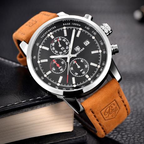 BENYAR メンズ腕時計 ビジネス スタイリッシュ 日付表示 レザーバンド クォーツ クロノグラフ ストップウォッチ 防水 3気圧  海外高級ブランド