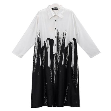 絵画スタイル シャツドレス ロングスリーブ ワンピース White Black 2色 爽やか ゆったり パーティー クラブ カジュアル レディース 春 夏