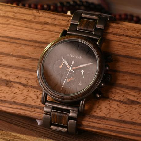BOBO BIRD 木製腕時計 メンズ クォーツ 発光 ボボバード 渋くてかっこいい★
