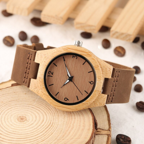 YISUYA バンブーウォッチ レディース竹腕時計 本革バンド ピンバックル レディースウォッチ クォーツ式