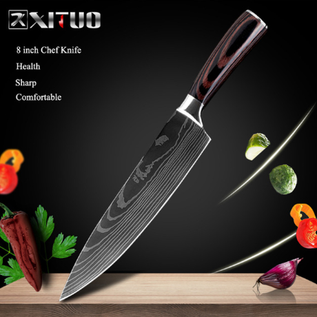 XITUO 高級包丁 シェフナイフ プロ 8インチ 牛刀 ダマスカス模様 よく切れる 万能 いいやつ 業務用 家庭でも 海外ブランド 人気