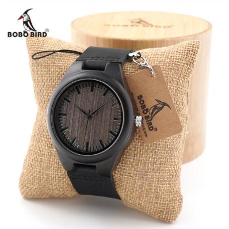 木製ギフトボックス付き BOBO BIRD エボニーウッド 木製腕時計 本革ベルト メンズ クォーツ 渋い F08