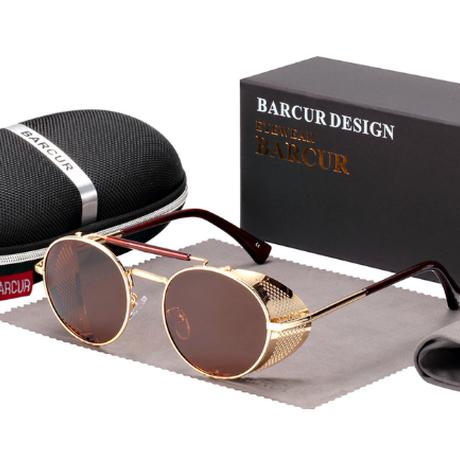 【ラウンド】 BARCUR 丸型 ユニセックス 偏光サングラス ヴィンテージ レトロ UV400 ポラロイド スチームパンク 海外トップブランド 【選べる3色】