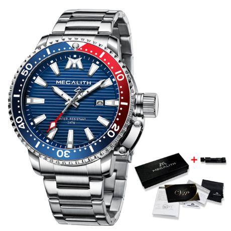 【海外高級ブランド】 MEGALITH クォーツ フルステンレス 防水 メンズ腕時計 日付表示 時計 スポーツウォッチ スタイリッシュ 【選べる3色】