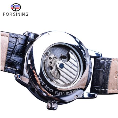 FORSINING ムーンフェイズ メンズ腕時計 自動巻き 機械式 防水 本革ベルト 月の満ち欠け 海外トップブランド 選べる3色
