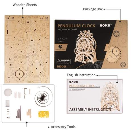 【ROBOTIME】 振り子時計 歯車式 木製 3D立体パズル LK501 ゼンマイ 組み立てキット 自作 簡単 【電池不要】