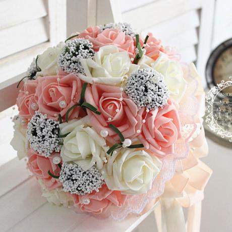 ブライダルブーケ ウェディングブーケ 造花 お祝い アートフラワー 結婚式 手作り 花束