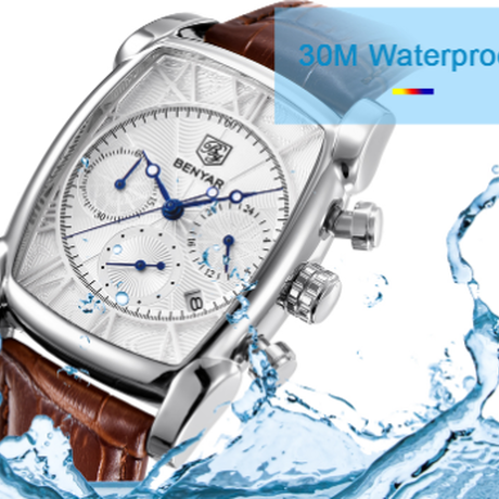 【BENYAR】 クロノグラフ メンズ腕時計 3気圧防水 クォーツ 本革ベルト 日付表示 高級 海外高級ブランド スタイリッシュ おしゃれ 選べる3色