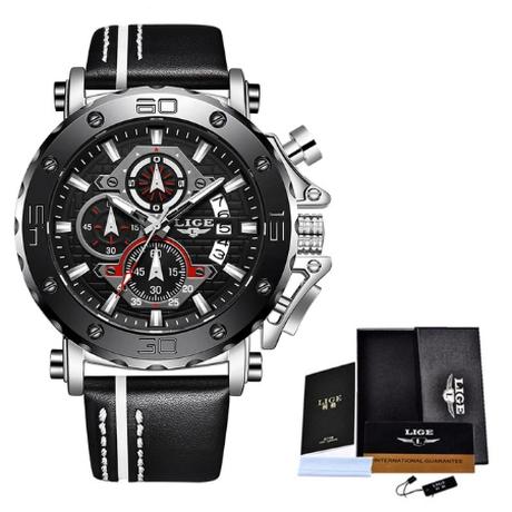 LIGE クロノグラフ 防水 メンズ腕時計 クォーツ 日付表示 レザーベルト ミリタリー 発光 ルミナスハンズ ストップウォッチ 海外トップブランド 選べる4色