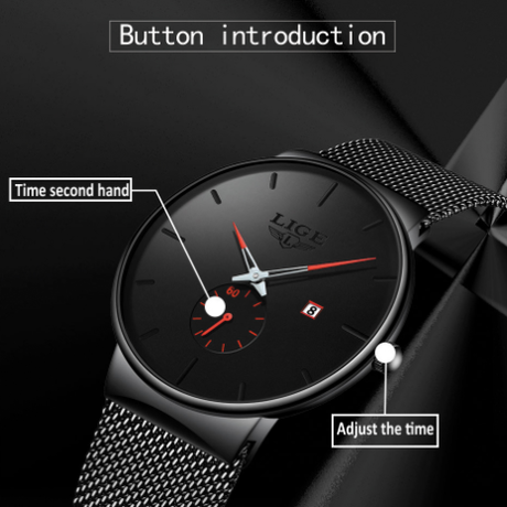 LIGE 腕時計 メンズ 薄い クォーツ 防水 日付表示メッシュベルト ステンレス 海外トップブランド シンプル ブラック 選べる4色
