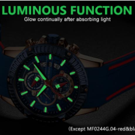 MINIFOCUS 海外高級ブランド カジュアル スポーツ ソフトシリコンストラップ メンズ腕時計 クロノグラフ ストップウォッチ 発光 防水 クォーツ