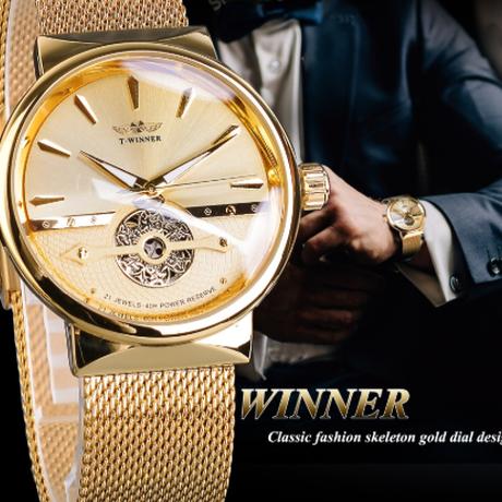 【海外トップブランド】 T-WINNER ゴールデン腕時計 メンズ 防水 自動巻き 機械式 メッシュベルト ルミナスハンズ ビジネス 【選べる3色】