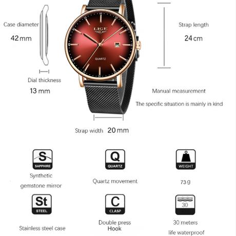 LIGE レディース腕時計 高級 薄い 防水 メッシュベルト 日付表示 クォーツ 海外トップブランド 人気 エレガント 選べる4色