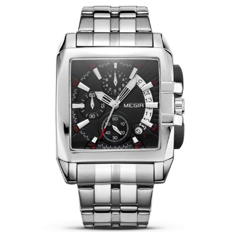 【2018】 MEGIR メンズ腕時計 四角形の文字盤 クロノグラフ 3気圧防水 ステンレスバンド 日付表示 クォーツ ルミナスハンズ 海外トップブランド 選べる2色